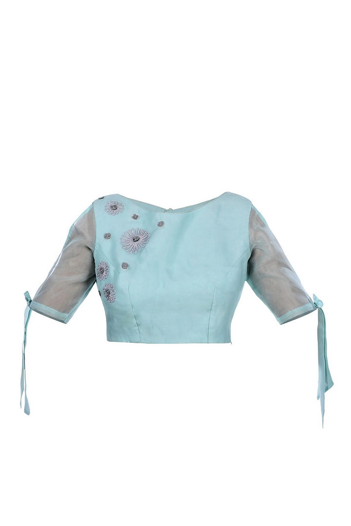 Shop alluring sea blue embroidered organza saree blouse online in USA from Pure Elegance fashion store. Choose from a range of exquisite readymade designer sari blouses perfect to amp up your saree style. also available at our online store.-full view