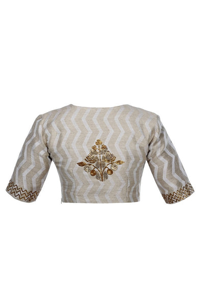 Shop silver self texture chanderi saree blouse with pita embroidery online in USA from Pure Elegance fashion store. Choose from a range of exquisite readymade designer sari blouses perfect to amp up your saree style. also available at our online store.-back