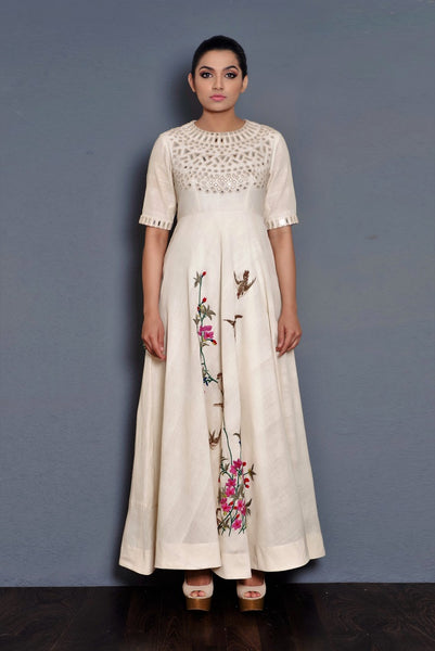 Buy off-white parsi embroidery khadi full length dress online in USA. Pick your favorite Indian dresses from Pure Elegance clothing store in USA. Step up your style with a range of Indian designer dresses, suits, designer lehengas also available on our online store.-full view
