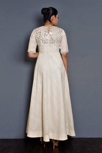 Buy off-white parsi embroidery khadi full length dress online in USA. Pick your favorite Indian dresses from Pure Elegance clothing store in USA. Step up your style with a range of Indian designer dresses, suits, designer lehengas also available on our online store.-back