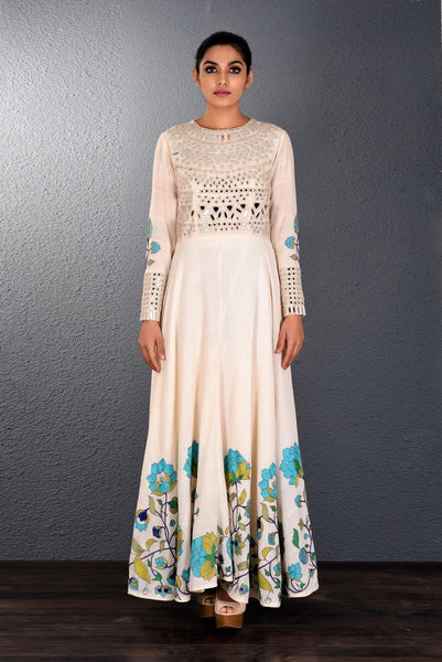 Buy alluring off-white khadi mirror and aari embroidery full length dress online in USA. Pick your favorite Indian dresses from Pure Elegance clothing store in USA. Step up your style with a range of Indian designer dresses, suits, designer lehengas also available on our online store. -full view