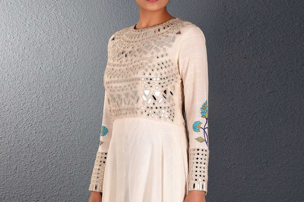 Buy alluring off-white khadi mirror and aari embroidery full length dress online in USA. Pick your favorite Indian dresses from Pure Elegance clothing store in USA. Step up your style with a range of Indian designer dresses, suits, designer lehengas also available on our online store. -top