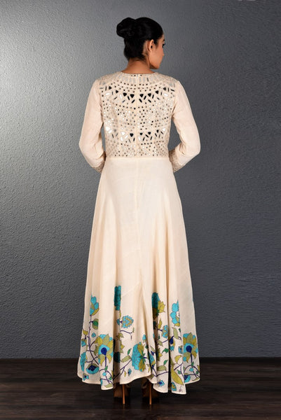 Buy alluring off-white khadi mirror and aari embroidery full length dress online in USA. Pick your favorite Indian dresses from Pure Elegance clothing store in USA. Step up your style with a range of Indian designer dresses, suits, designer lehengas also available on our online store. -back