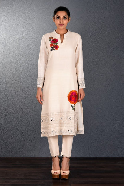 Buy off-white khadi hand embroidered kurta with slim pants online in USA. Pick your favorite Indian dresses from Pure Elegance clothing store in USA. Step up your style with a range of Indian designer dresses, suits, designer lehengas also available on our online store. -full view