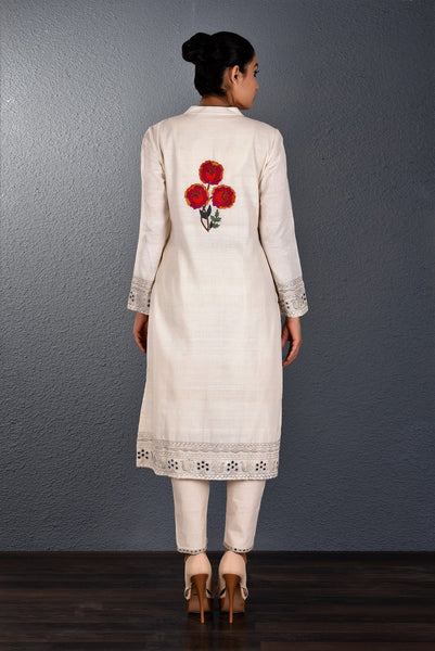 Buy off-white khadi hand embroidered kurta with slim pants online in USA. Pick your favorite Indian dresses from Pure Elegance clothing store in USA. Step up your style with a range of Indian designer dresses, suits, designer lehengas also available on our online store. -back