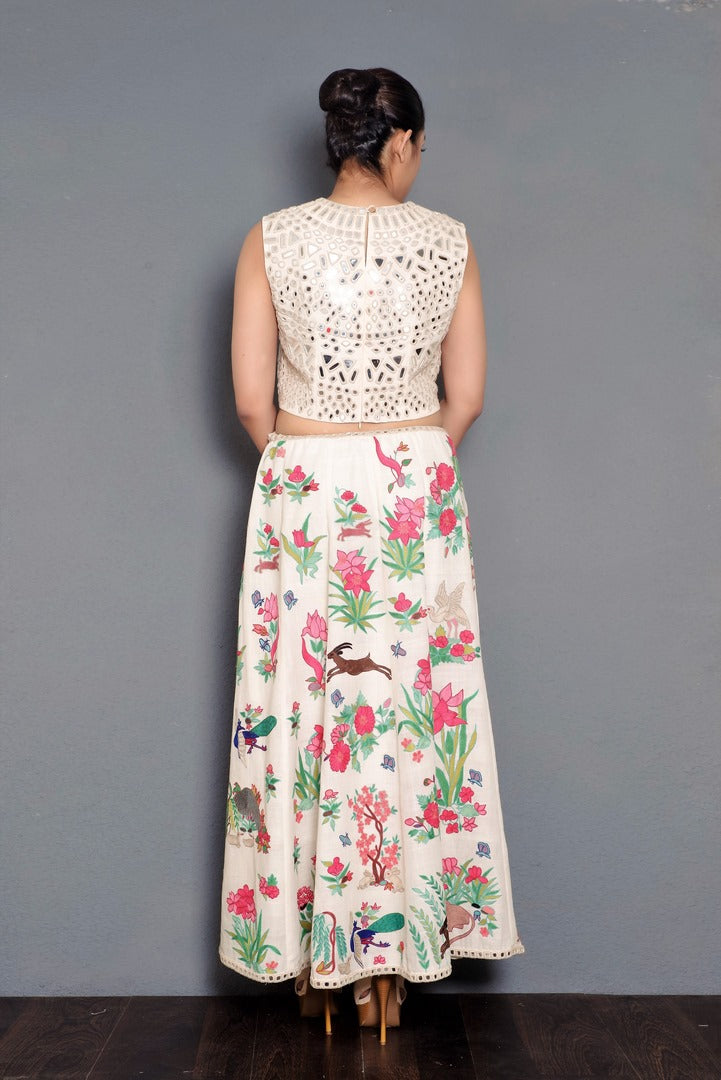 c99049859 Buy off-white mirror embroidery khadi crop top with skirt online in USA.  Pick