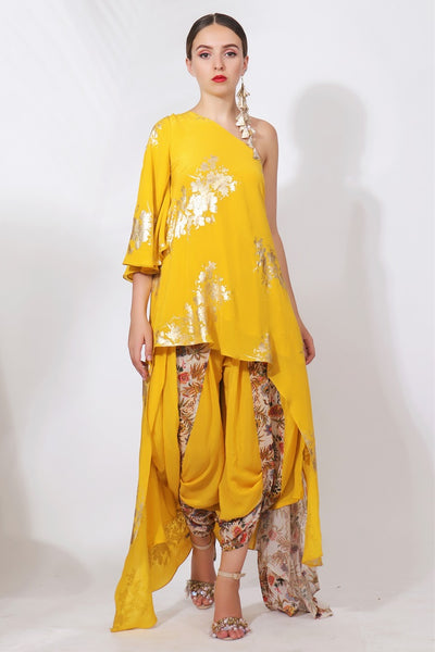 Buy pitambari yellow crepe printed off-shoulder top with dhoti pants online in USA. Pick your favorite Indian designer suits and dresses from Pure Elegance clothing store in USA. Ace your style game with a range of Indian saris, Anarkali suits, designer lehengas also available on our online store.  -full view