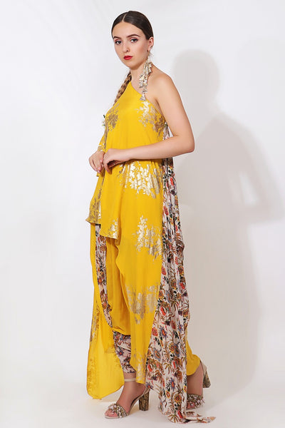 Buy pitambari yellow crepe printed off-shoulder top with dhoti pants online in USA. Pick your favorite Indian designer suits and dresses from Pure Elegance clothing store in USA. Ace your style game with a range of Indian saris, Anarkali suits, designer lehengas also available on our online store.  -side view