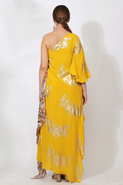 Buy pitambari yellow crepe printed off-shoulder top with dhoti pants online in USA. Pick your favorite Indian designer suits and dresses from Pure Elegance clothing store in USA. Ace your style game with a range of Indian saris, Anarkali suits, designer lehengas also available on our online store.  -back