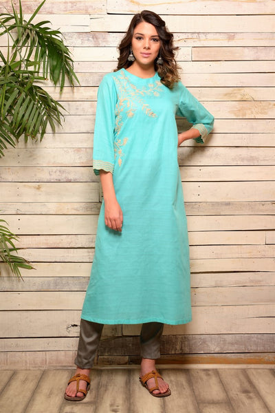 Buy aqua blue embroidered cotton kurta with grey pants online in USA. Pick your favorite Indian designer suits and dresses from Pure Elegance clothing store in USA. Make your ethnic collection complete with a range of Indian sarees, Anarkali suits, designer lehengas also available on our online store. -full view