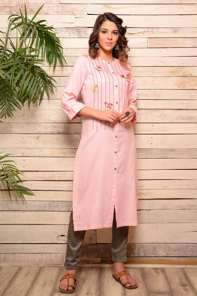 Shop pink embroidered cotton kurta with grey pants online in USA. Pick your favorite Indian designer suits and dresses from Pure Elegance clothing store in USA. Make your ethnic collection complete with a range of Indian sarees, Anarkali suits, designer lehengas also available on our online store.  -full view