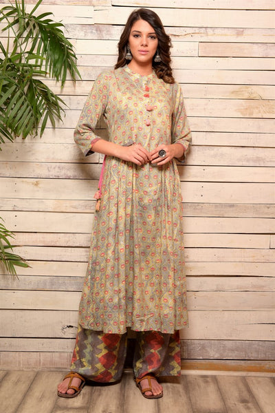 Buy grey color modal print side flap cotton kurta with palazzo online in USA. Pick your favorite Indian designer suits and dresses from Pure Elegance clothing store in USA. Make your ethnic collection complete with a range of Indian sarees, Anarkali suits, designer lehengas also available on our online store.  -full view