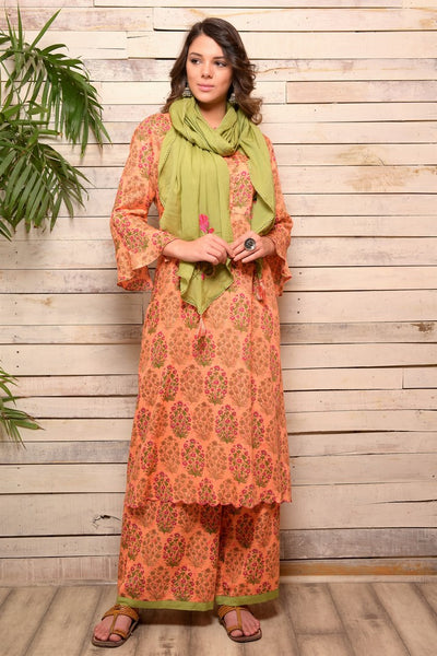 Buy peach printed cotton kurta with palazzo online in USA and green embroidered scarf. Pick your favorite Indian designer suits and dresses from Pure Elegance clothing store in USA. Make your ethnic collection complete with a range of Indian sarees, Anarkali suits, designer lehengas also available on our online store.  -full view