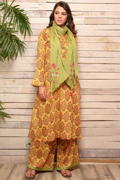 Shop yellow printed cotton kurta with palazzo online in USA and green embroidered scarf. Pick your favorite Indian designer suits and dresses from Pure Elegance clothing store in USA. Make your ethnic collection complete with a range of Indian sarees, Anarkali suits, designer lehengas also available on our online store.  -full view