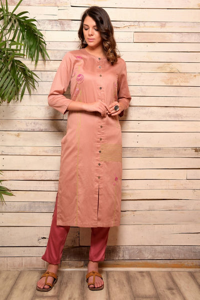 Shop onion pink embroidered cotton kurta with pants online in USA. Pick your favorite Indian designer suits and dresses from Pure Elegance clothing store in USA. Make your ethnic collection complete with a range of Indian sarees, Anarkali suits, designer lehengas also available on our online store. -full view
