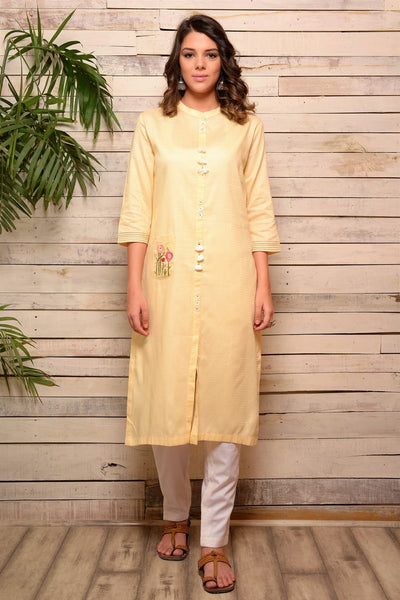 Buy lemon color embroidered kurta with white pants online in USA. Pick your favorite Indian designer suits and dresses from Pure Elegance clothing store in USA. Make your ethnic collection complete with a range of Indian sarees, Anarkali suits, designer lehengas also available on our online store.  -full view