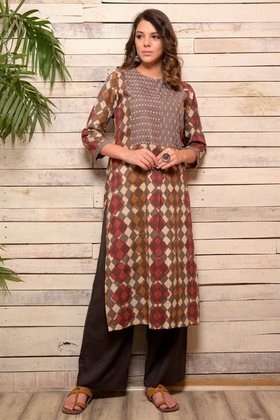 Shop grey Dabu print cotton kurta with matching palazzo online in USA. Pick your favorite Indian designer suits and dresses from Pure Elegance clothing store in USA. Make your ethnic collection complete with a range of Indian sarees, Anarkali suits, designer lehengas also available on our online store. -full view