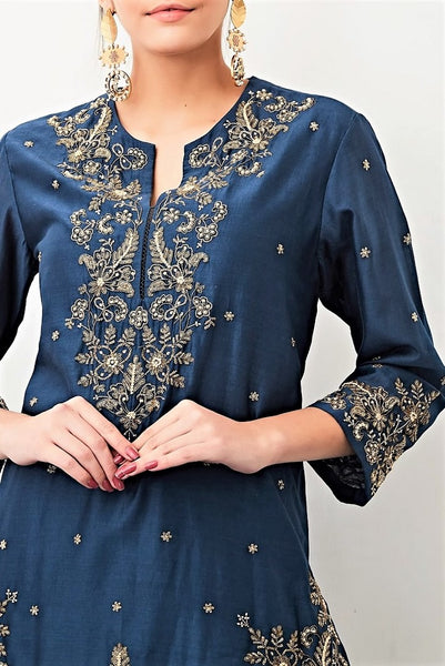 Buy navy zardozi embroidery chanderi kurta with sharara pants online in USA. Keep your style perfect with a stylish range of Indian designer clothes from Pure Elegance fashion store in USA. If you want to shop for Indian clothes online, then browse through our online store and shop at the comfort of your home.-kurta