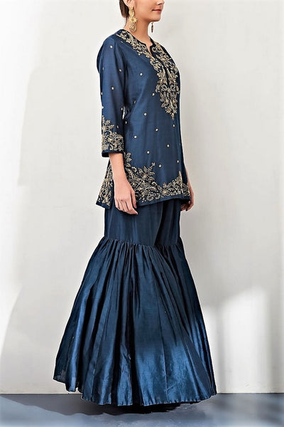 Buy navy zardozi embroidery chanderi kurta with sharara pants online in USA. Keep your style perfect with a stylish range of Indian designer clothes from Pure Elegance fashion store in USA. If you want to shop for Indian clothes online, then browse through our online store and shop at the comfort of your home.-side