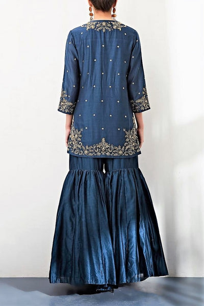 Buy navy zardozi embroidery chanderi kurta with sharara pants online in USA. Keep your style perfect with a stylish range of Indian designer clothes from Pure Elegance fashion store in USA. If you want to shop for Indian clothes online, then browse through our online store and shop at the comfort of your home.-back