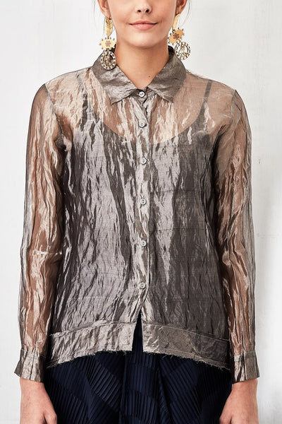 Buy grey silver tissue shirt with crinkled draped skirt online in USA. Keep your style perfect with a stylish range of Indian designer dresses from Pure Elegance fashion store in USA. If you want to shop for Indian clothes online, then browse through our online store and shop at the comfort of your home.-shirt front