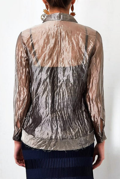 Buy grey silver tissue shirt with crinkled draped skirt online in USA. Keep your style perfect with a stylish range of Indian designer dresses from Pure Elegance fashion store in USA. If you want to shop for Indian clothes online, then browse through our online store and shop at the comfort of your home.-shirt back
