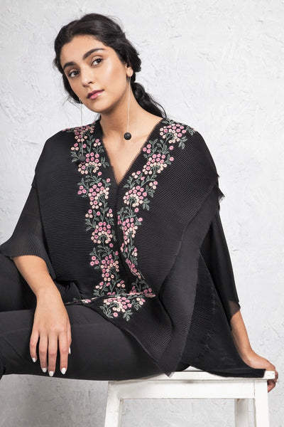 Buy stunning black embroidered pleated chiffon blouse online in USA. Keep your style perfect with a stylish range of Indian designer dresses from Pure Elegance fashion store in USA. If you want to shop for Indian clothes online, then browse through our online store and shop at the comfort of your home.-full view