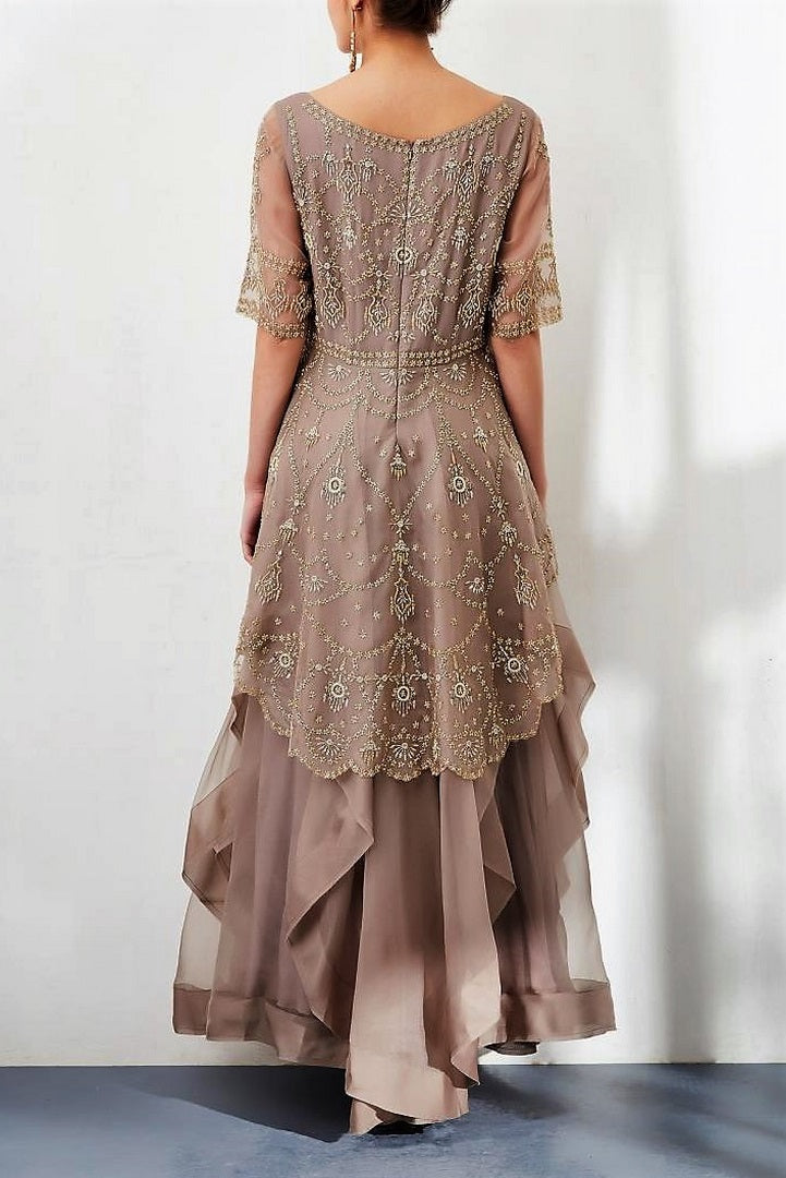 b84a1d4c9b8 Shop designer grey embroidered peplum chiffon long dress online in USA. Keep  your style perfect