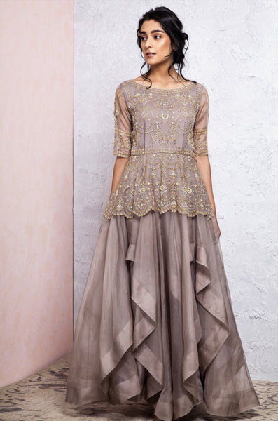 Shop designer grey embroidered peplum chiffon long dress online in USA. Keep your style perfect with a stylish range of Indian designer dresses from Pure Elegance fashion store in USA. If you want to shop for modern Indian clothing online, then browse through our online store and shop at the comfort of your home.-full view