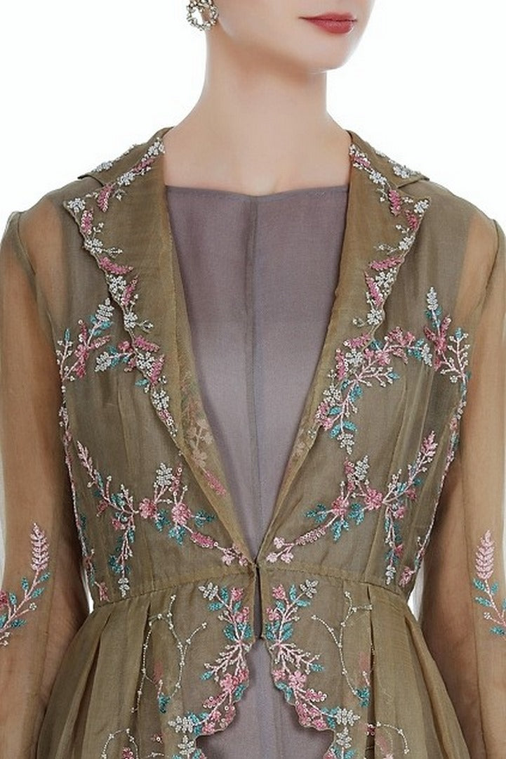 Shop grey embroidered peplum jacket with balloon dress online in USA. Keep your style perfect with a stylish range of Indian designer dresses from Pure Elegance fashion store in USA. If you want to shop for modern Indian clothing online, then browse through our online store and shop at the comfort of your home.-jacket