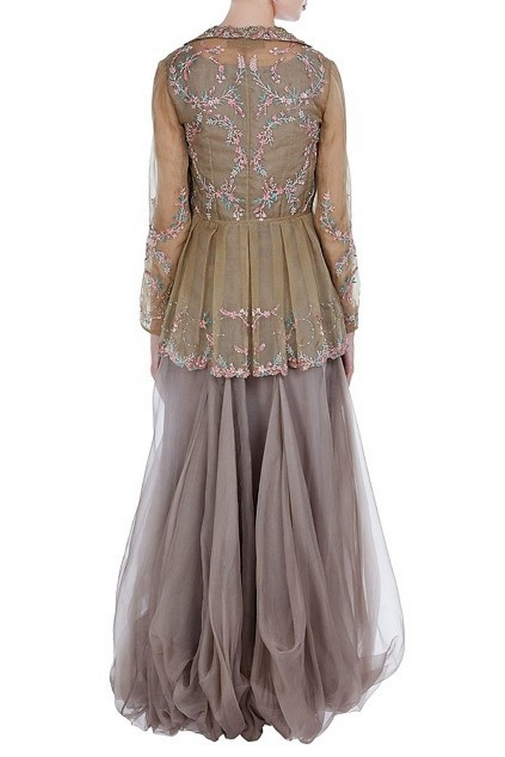 Shop grey embroidered peplum jacket with balloon dress online in USA. Keep your style perfect with a stylish range of Indian designer dresses from Pure Elegance fashion store in USA. If you want to shop for modern Indian clothing online, then browse through our online store and shop at the comfort of your home.-back