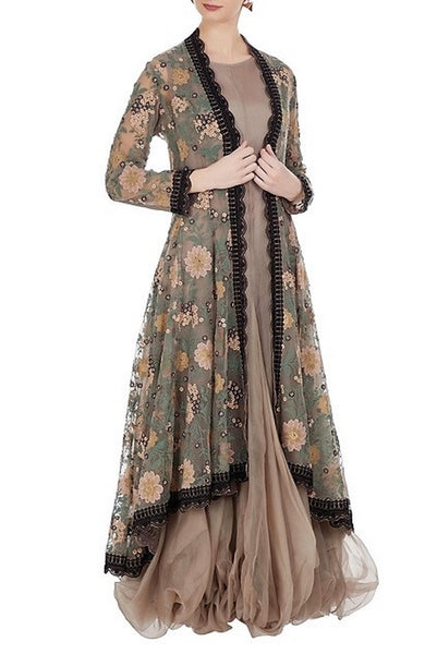 Buy grey embroidered hi-low long jacket with balloon dress online in USA. Keep your style perfect with a stylish range of Indian designer dresses from Pure Elegance fashion store in USA. If you want to shop for modern Indian clothing online, then browse through our online store and shop at the comfort of your home.-full view
