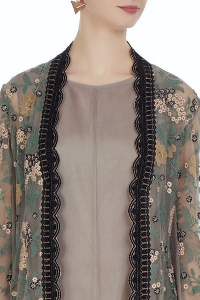 Buy grey embroidered hi-low long jacket with balloon dress online in USA. Keep your style perfect with a stylish range of Indian designer dresses from Pure Elegance fashion store in USA. If you want to shop for modern Indian clothing online, then browse through our online store and shop at the comfort of your home.-jacket