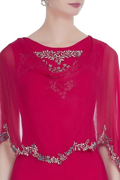 Buy red color embroidered kurta with attached dupatta and leggings online in USA. Keep your style perfect with a stylish range of Indian designer dresses from Pure Elegance fashion store in USA. If you want to shop for modern Indian clothing online, then browse through our online store and shop at the comfort of your home.-dupatta