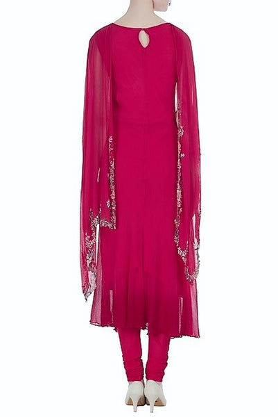 Buy red color embroidered kurta with attached dupatta and leggings online in USA. Keep your style perfect with a stylish range of Indian designer dresses from Pure Elegance fashion store in USA. If you want to shop for modern Indian clothing online, then browse through our online store and shop at the comfort of your home.-back