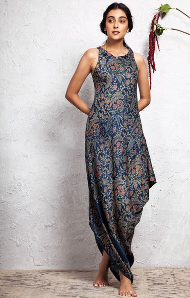 Buy blue printed draped cowl dress online in USA. Keep your style perfect with a stylish range of Indian designer dresses from Pure Elegance fashion store in USA. If you want to shop for modern Indian clothing online, then browse through our online store and shop at the comfort of your home.-full view