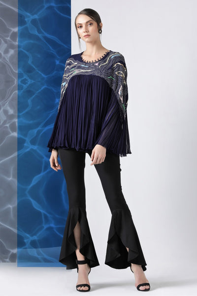 Buy navy embroidered georgette flared top online in USA at Pure Elegance. Make your wardrobe an eclectic mix of alluring silhouettes and colors with a range of Indian designer clothes available at our clothing store in USA. -full view