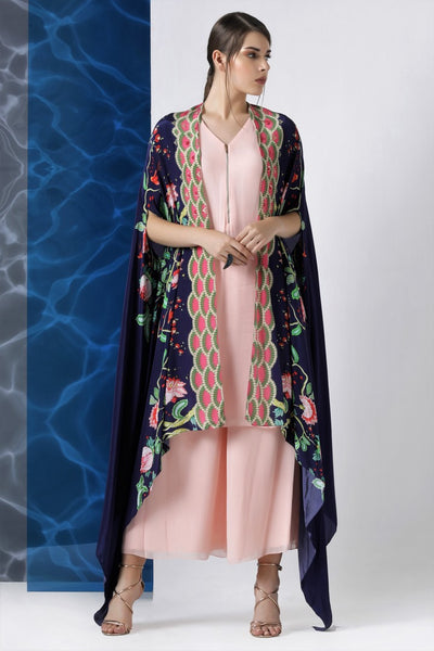 Buy designer pink kurta and palazzo with navy printed cape online in USA from Pure Elegance. Make your wardrobe an eclectic mix of alluring silhouettes and colors with a range of Indian designer clothes available at our clothing store in USA. -full view