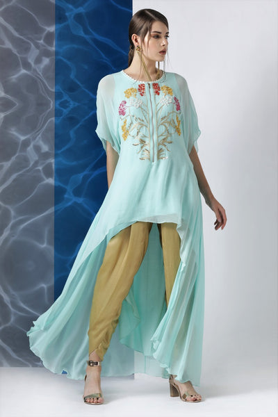 Buy sky blue embroidered asymmetric tunic online in USA from Pure Elegance. Make your wardrobe an eclectic mix of alluring silhouettes and colors with a range of Indian designer clothes available at our clothing store in USA. -full view