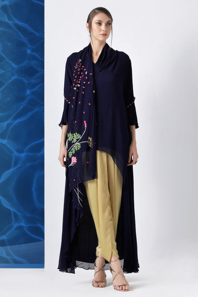 Shop navy embroidered hi-low tunic with dhoti pants online in USA from Pure Elegance. Make your wardrobe an eclectic mix of alluring silhouettes and colors with a range of Indian designer clothes available at our clothing store in USA. -full view