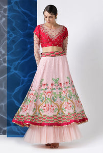 5a34a043fa0 Shop Red and Pink Embroidered and Printed Skirt Set Online in USA