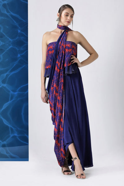 Shop designer navy printed draped concept sari online in USA from Pure Elegance. Make your wardrobe an eclectic mix of alluring silhouettes and colors with a range of Indian designer clothing available at our clothing store in USA. -full view