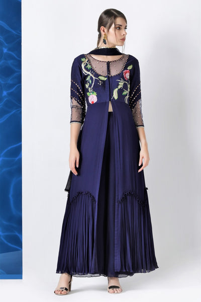 Shop navy embroidered kurta with palazzo and dupatta online in USA from Pure Elegance. Make your wardrobe an eclectic mix of alluring silhouettes and colors with a range of Indian designer clothing available at our fashion store in USA. -full view
