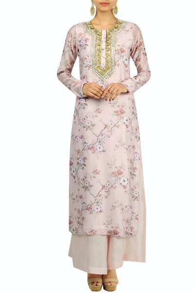 Elegant powder pink printed and embroiderd kurta with palazzo for online shopping in USA. Make your ethnic wardrobe complete with an exquisite collection of Indian designer clothing from Pure Elegance clothing store in USA. A splendid variety of designer dresses, designer lehenga choli, salwar suits will leave you wanting for more. Shop now.-full view