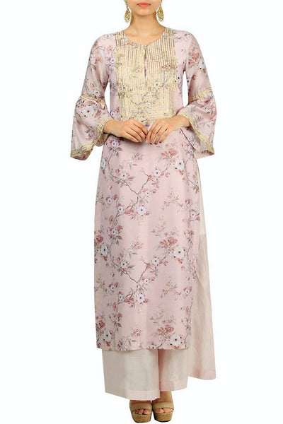 Elegant powder pink printed and embroidered kurta with bell sleeves for online shopping in USA. Make your ethnic wardrobe complete with an exquisite collection of Indian designer clothing from Pure Elegance clothing store in USA. A splendid variety of designer dresses, designer lehenga choli, salwar suits will leave you wanting for more. Shop now.-full view