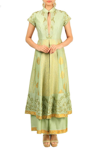 Mint green chanderi silk suit with palazzo pants for online shopping in USA. Make your ethnic wardrobe complete with an exquisite collection of Indian designer clothing from Pure Elegance clothing store in USA. A splendid variety of designer dresses, designer lehenga choli, salwar suits will leave you wanting for more. Shop now.-full view