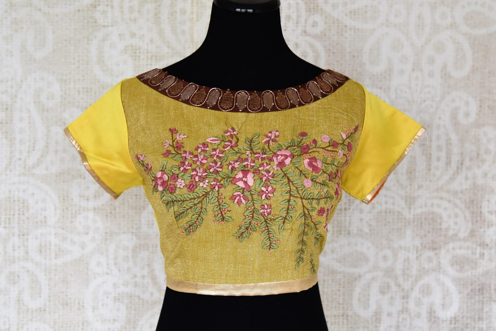 Buy yellow khadi embroidered saree blouse online in USA. Elevate your traditional Indian sarees with matching and contrasting readymade saree blouses from Pure Elegance Indian clothing store in USA.-front