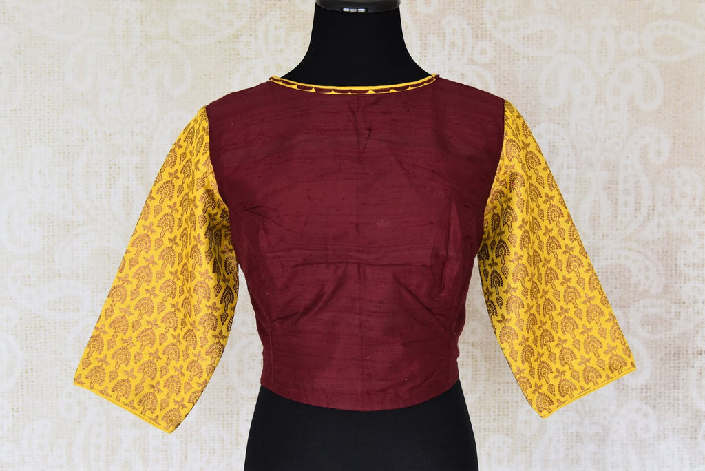 Buy dark brown silk saree blouse online in USA with yellow Benarasi sleeves. Enhance your ethnic saree look with beautiful Indian readymade saree blouses from Pure Elegance Indian fashion store in USA.-front