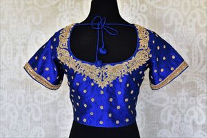 Shop blue raw silk embroidered saree blouse online in USA. Complete your saree look with exquisite designer saree blouses from Pure Elegance Indian clothing store in USA. -back