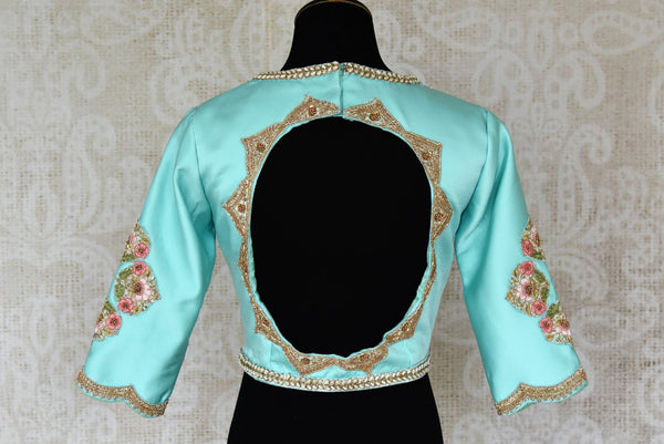 Buy sky blue embroidered silk designer saree blouse online in USA. Enhance your ethnic saree look with stunning Indian readymade sari blouses from Pure Elegance Indian fashion store in USA.-back